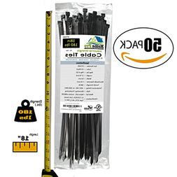 Heavy Duty 18 Inch Zip Cable Ties  — 180 LB Extra Strength