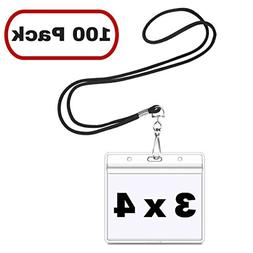 MIFFLIN Horizontal 3x4 Name Badge Holder with Lanyard Sets ,