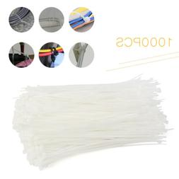 1000pcs Pack 8 inch White Network Cable Cord Wire Tie Strap