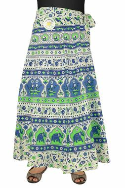 Indian Print Wrap Skirt with Zip Pocket Blue/White