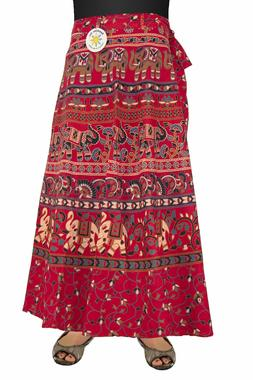 Indian Print Wrap Skirt with Zip Pocket Red/Blue