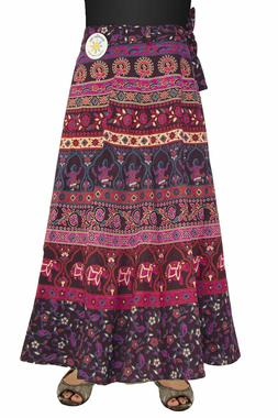 Indian Print Wrap Skirt with Zip Pocket Purple/Red