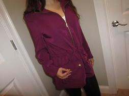 WHITE HOUSE BLACK MARKET Jacket Plum w/ Gold Zip front tie w