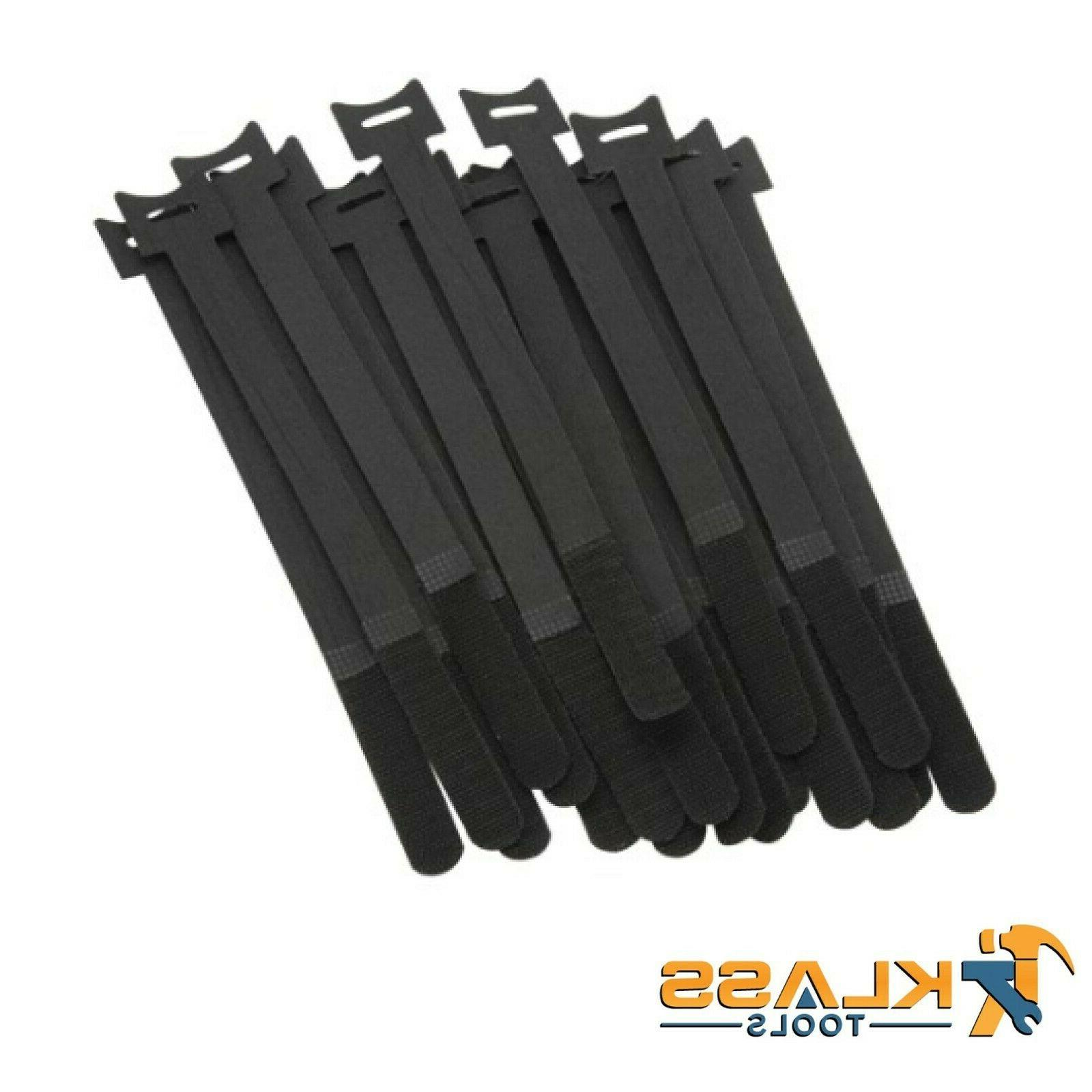 10 in black cable ties with velcro