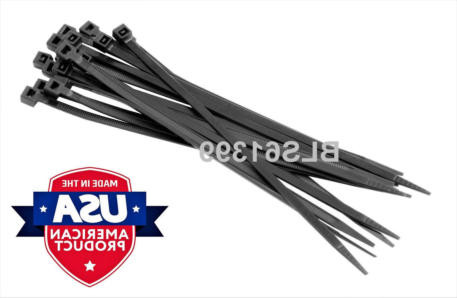 300 TIES 4, 8 inch BLACK Wire & Cable Tie Wraps