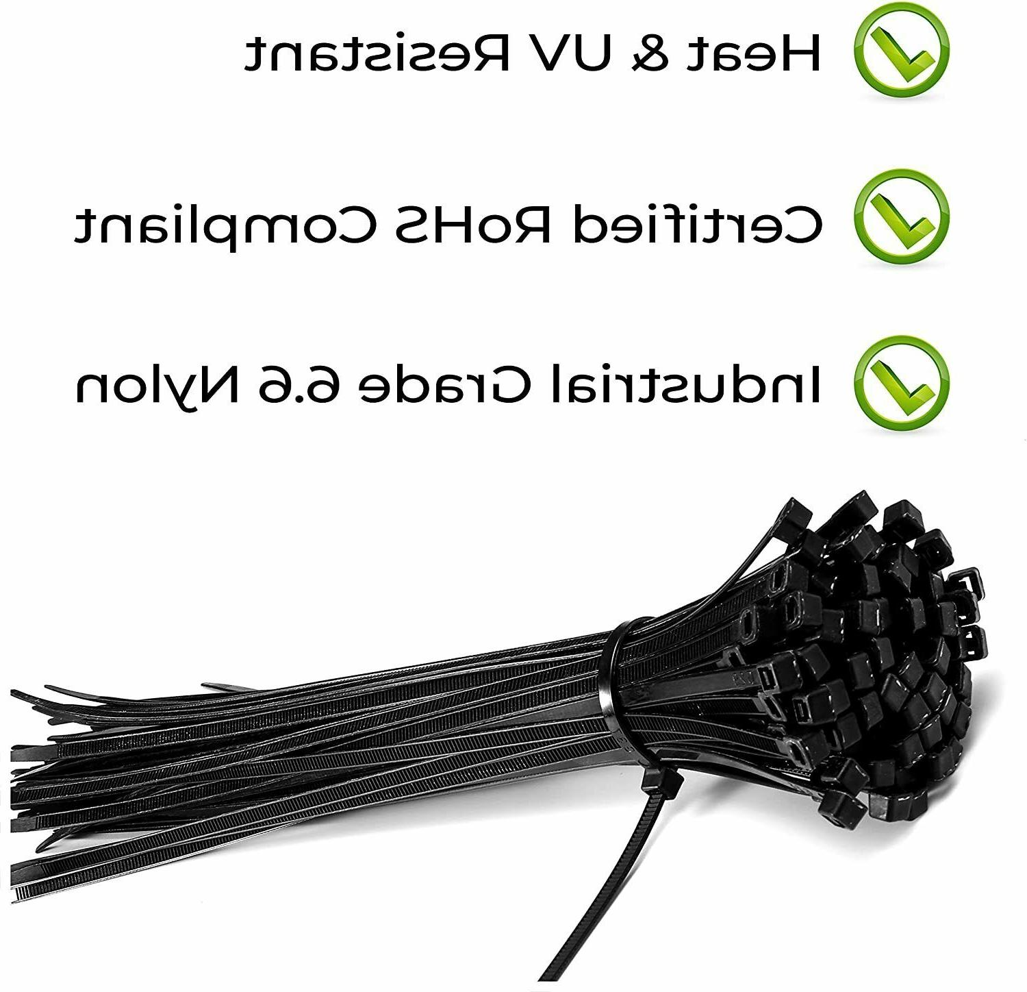 100 Cable 12 Inch Ties Strong Cord Wrap Black