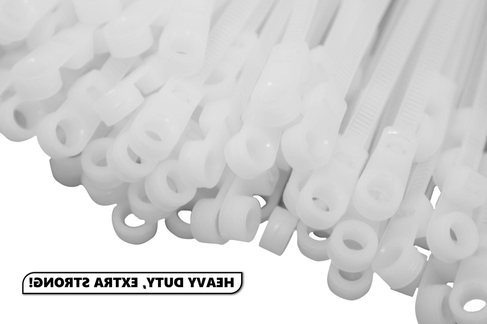 """100 Extreme Heavy Duty 8"""" Pound Zip Cable Ties Wrap Wide White"""