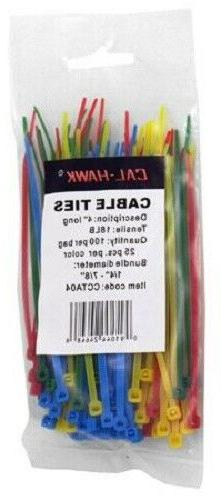 "100 pc. Assorted Colors 4 "" Inch Long Cable Ties Self Lockin"