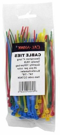 """100 pc. Assorted Colors 4"""" Inch Long Cable Ties Self Locking"""