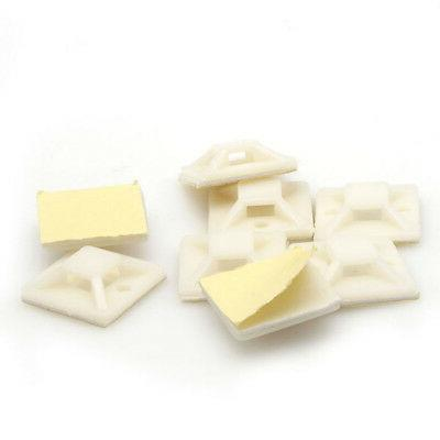 100 Self Cable Mounts Bases White