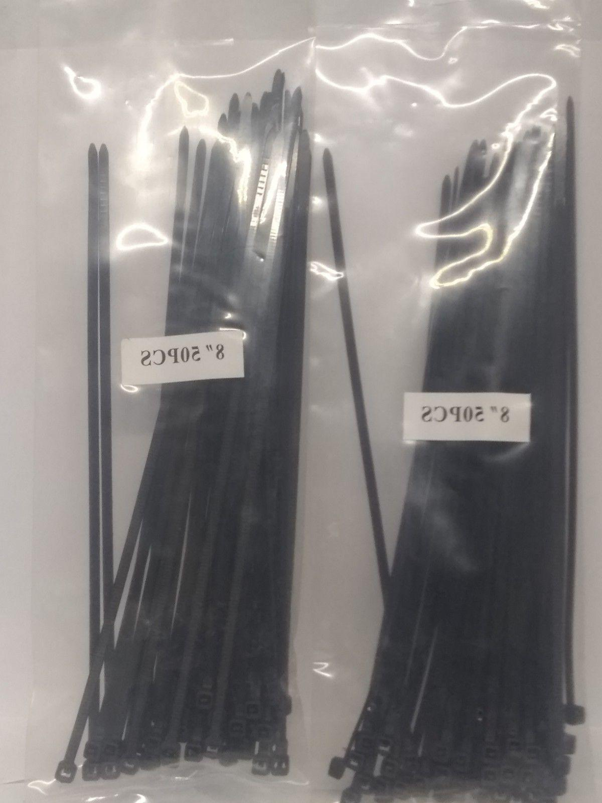 100 piece 8 long black zip ties