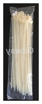 "100 Set 18"" Long Nylon Plastic White Wire Cable Loop Zip Tie"