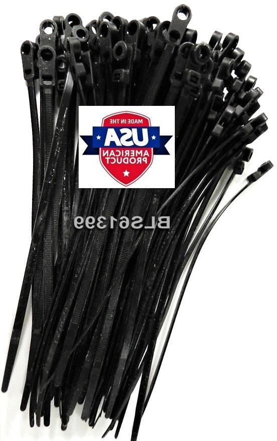 """100 USA Tough Ties 8/"""" inch 50lb SCREW MOUNT Wire Ties Cable Zip Tie Wraps White"""