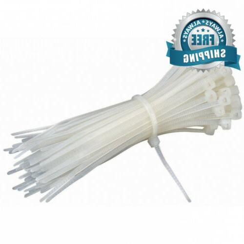 100 white nylon cable zip ties self