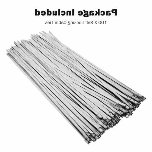 100 Metal Locking Steel Cable Zip Wire Exhaust Straps