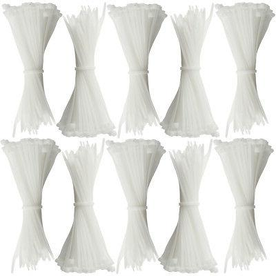 """1000ct Cable Ties Heavy Duty Industrial Grade White Bundling Or 7"""""""