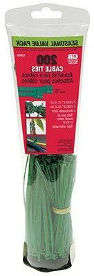 Gardner Bender 10090WA Cable Tie Assortment, 200 Pack, Green