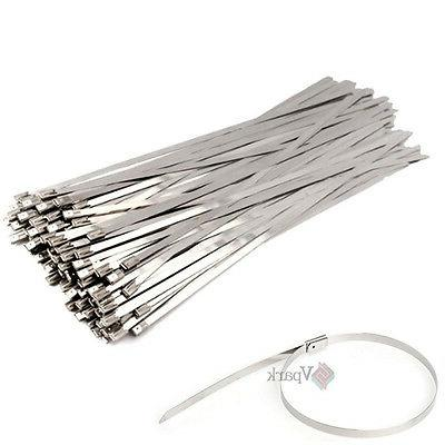 100Pcs Stainless Steel Header Wrap Self Locking Cable Zip Ti