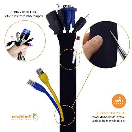 New PREMIUM Cable Management Free Ties, Best Cords Organizer Hider Protector for PC Adjustable White Neoprene Sleeves
