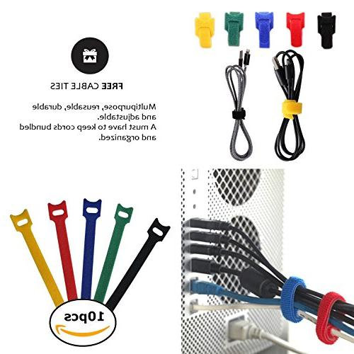 New Design PREMIUM Cable Sleeve Free Ties, Best Cords Organizer Protector for Desk PC Home Adjustable - Neoprene Cord