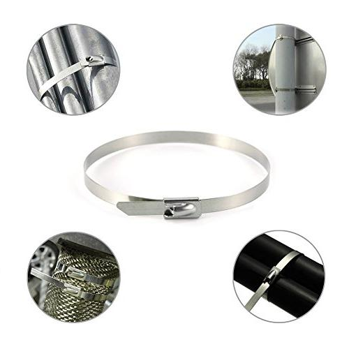 HYCC 100pcs 304 Stainless Zip Ties Exhaust Coated Locking