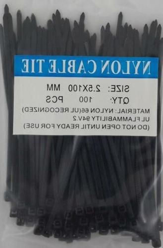 "4"" Black Nylon Cable Tie Zip Heavy Duty Plastic Wire - Pac"