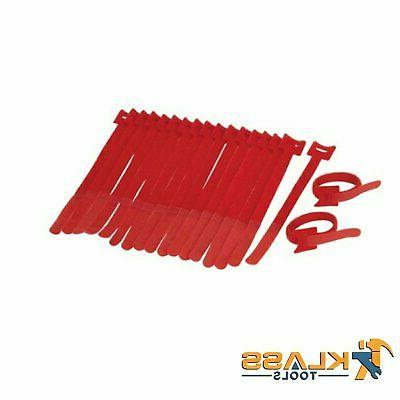 7 in red cable ties with velcro