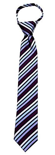 Boys Red and Burgundy 14 inch Zipper Necktie pattern Pre-mad