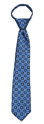 Boys Blue and Navy 14 inch Zipper Necktie pattern Pre-made Z