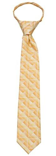 Boys Yellow and Gold 14 inch Zipper Necktie pattern Pre-made