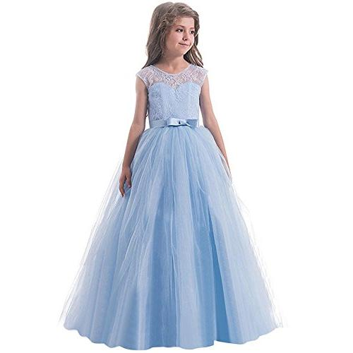 Lurryly Children Girls Bowknot Backless Formal Princess Zip