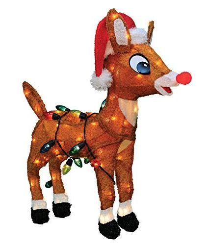 "ProductWorks 24"" Pre-Lit Soft Tinsel Rudolph the Red-Nosed R"