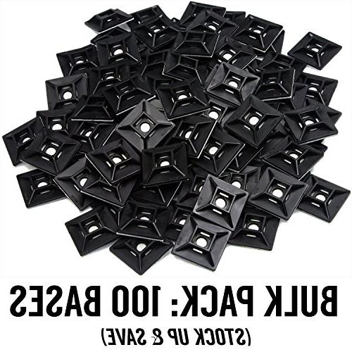Zip Tie Adhesive-Backed Mounts 100 Pack by Supply. UV Black Cable Tie x 1.1. Screw-Hole Point Strength for Use