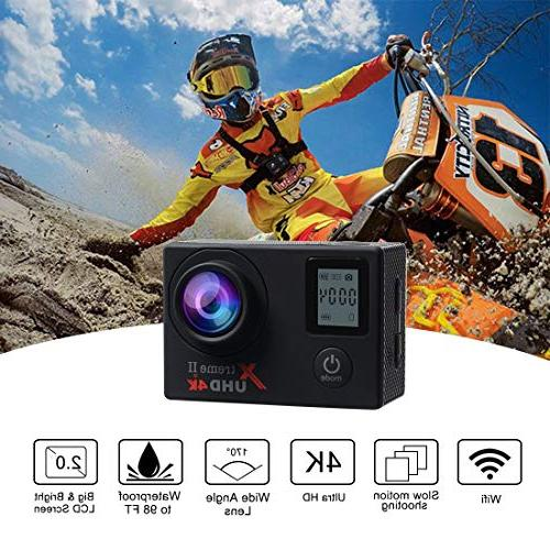 Campark Camera Waterproof Sports Cam Control and Rechargeable