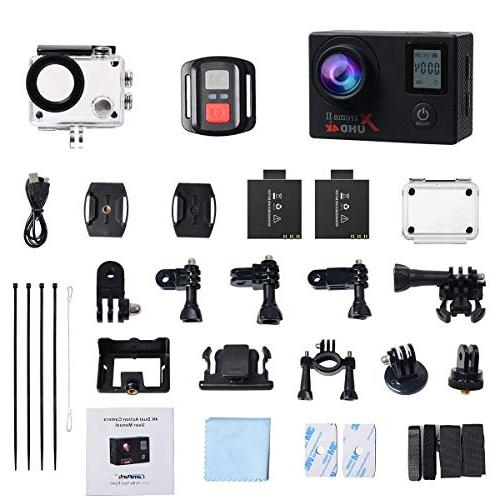 Campark ACT76 Action Camera HD Waterproof Cam with Wireless Control 2 Pcs Rechargeable