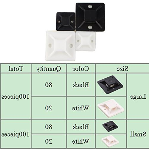 Honyear 200 Pack Cable Tie Mounts resilient, strongly adhesive, Tie Cable