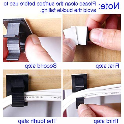 25 Tie Clips Adhesive Wire Clips Wire Clamps for Office, Black