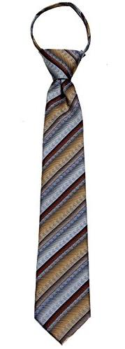 Boys Black and Gray 14 inch Zipper Necktie pattern Pre-made