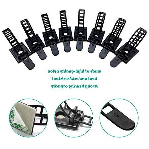 50pcs Cable Clips the Nylon and Adhesive Cable with for Cord Management