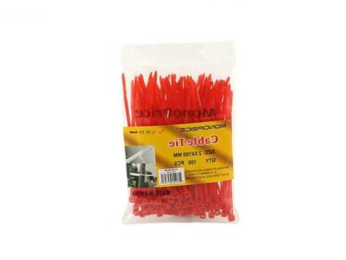 Monoprice Cable inch 18LBS, 100pcs/Pack Red