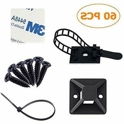 cable ties strong adhesive backed mounts wire
