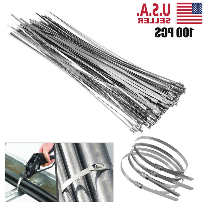 "100Pcs Chrome 12"" Stainless Steel Header Wrap Straps Self Lo"