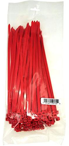 "Cambridge Cable Ties 8"" 50 Lbs 100 Pcs, Standard Duty, Red"