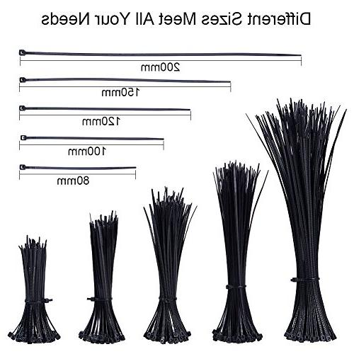 PandaHall About 500 Pcs Nylon Cable Size Length in Black