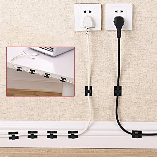 GOOACC G0008A Cable Management Adhesive Cable Clips Organizer Clips Cable Ties Home, Desk Accessories