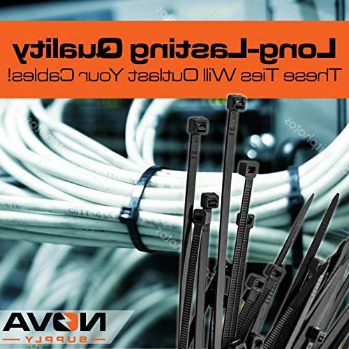 Pro-Grade, Black Zip Ties Multisize Set High-Strength Cable Has 50x 10 12 Nylon Fasteners. Wraps For Storage, Organization Management.