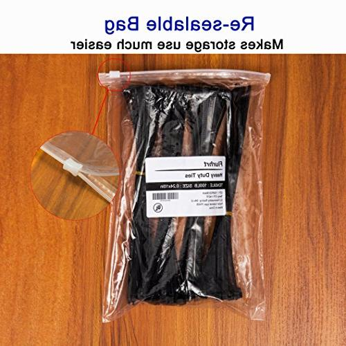 10 Duty Nylon Cable 100 Pounds Tensile 100 Pieces, Ties 0.24 Inch/6mm Width Black and