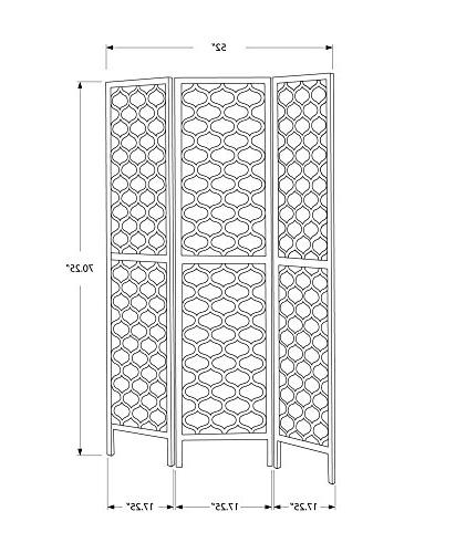 """Monarch Specialties I Panel Divider, Wood, Gold,70""""H"""