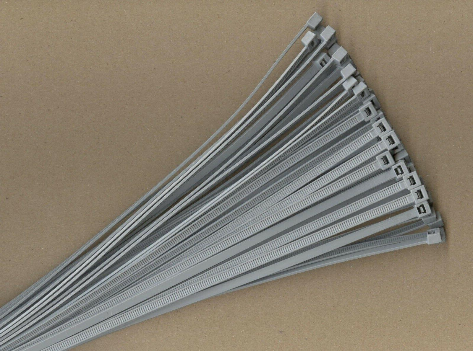 "100 11"" Inch Long 50# Pound GRAY GREY Nylon Cable Zip Ties T"