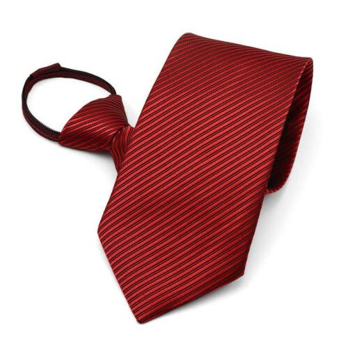 New Lazy Zipper Necktie Solid Business Party Up Tie Gift
